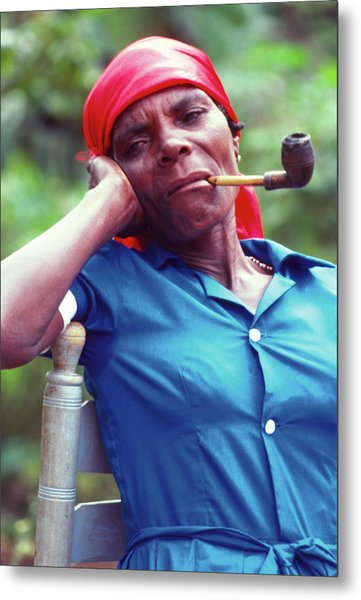 Hatian Woman With A Red Scarf And A Pipe Metal Print