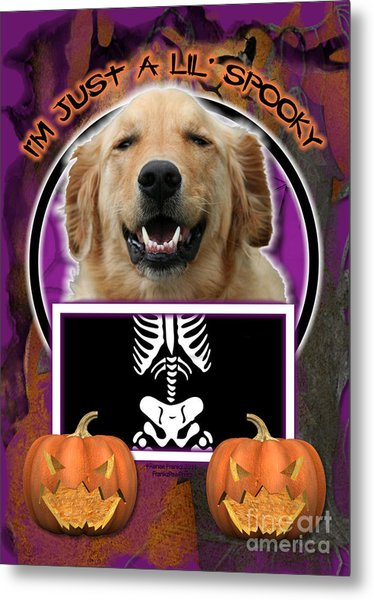 I'm Just A Lil' Spooky Golden Retriever Metal Print by Renae Crevalle