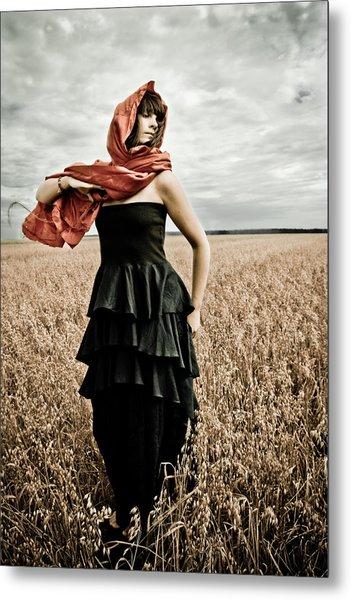 In Mourning Red Metal Print by Olga Leszczynska
