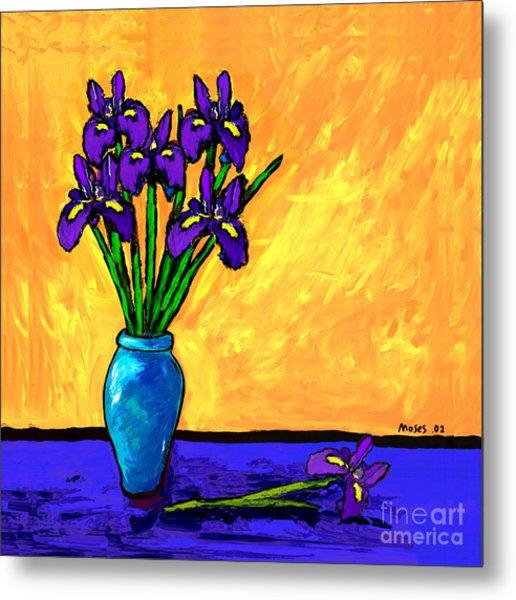 Iris On Yellow Metal Print