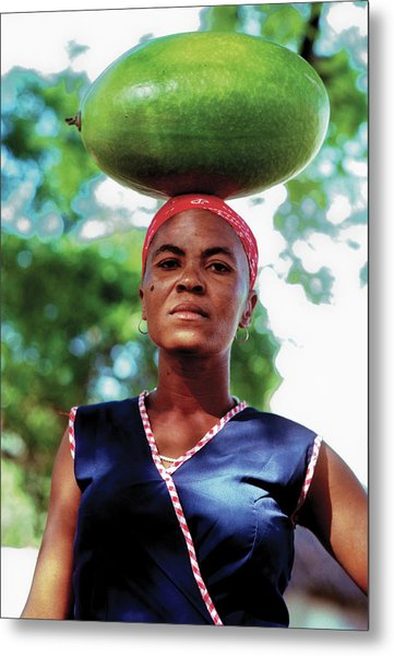 Lady With Calbace On Head Metal Print