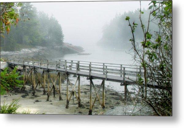 Misty Bridge Metal Print