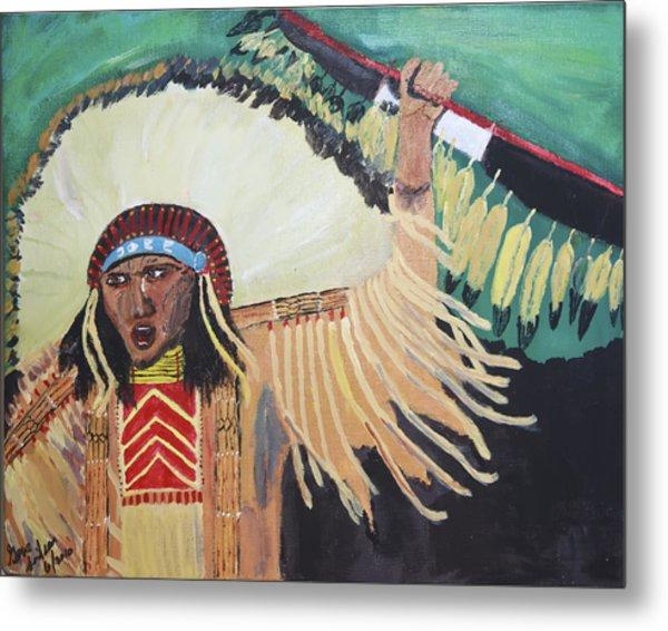 Native American Warrior Metal Print