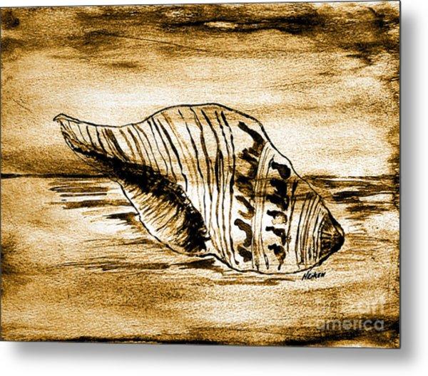 Painted Seashell Metal Print by Marsha Heiken