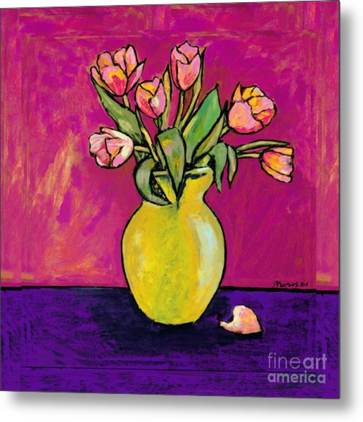 Parrot Tulips In A Yellow Vase Metal Print
