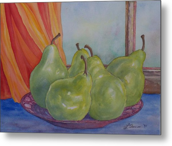 Pears At The Window Metal Print by Laurel Thomson