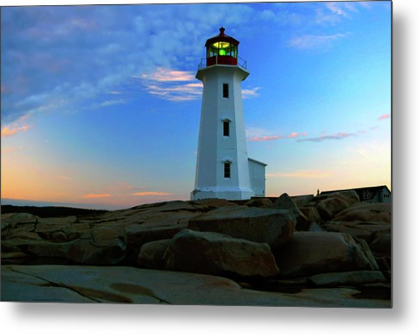 Peggy's Cove Lighthouse At Sunrise Metal Print
