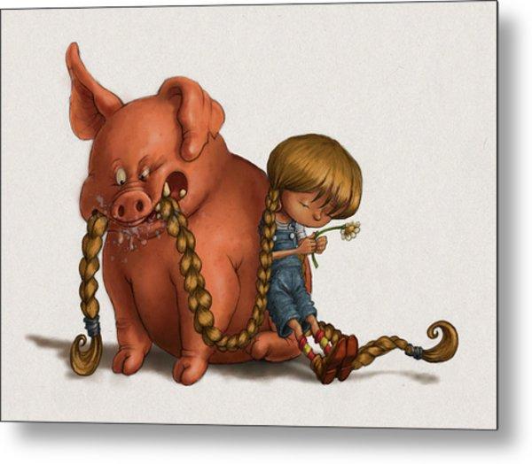 Pig Tales Chomp Metal Print