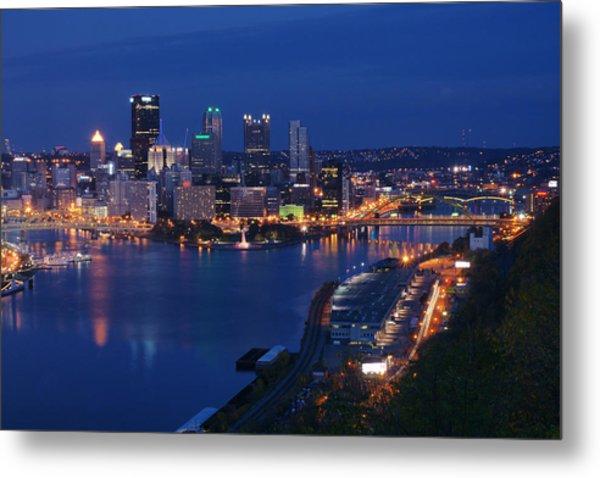 Pittsburgh In Blue Metal Print