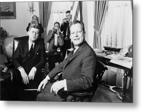President John F. Kennedy And Mayor Metal Print by Everett
