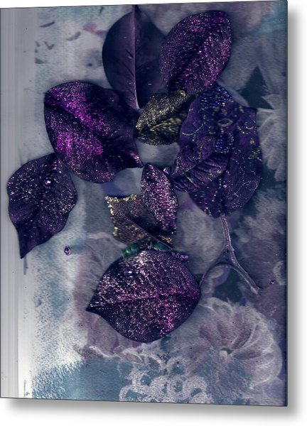 Purple Leaves All Glittery Metal Print by Anne-Elizabeth Whiteway