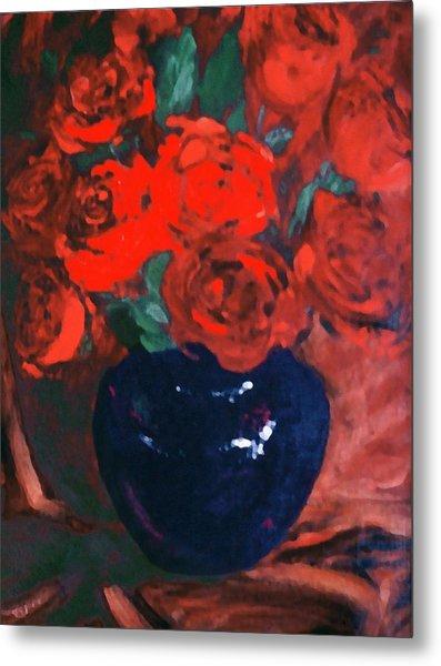 Red Roses Blue Vase Metal Print