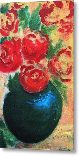 Red Roses In Blue Vase Metal Print