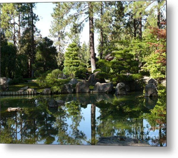 Reflections In A Japanese Garden Metal Print