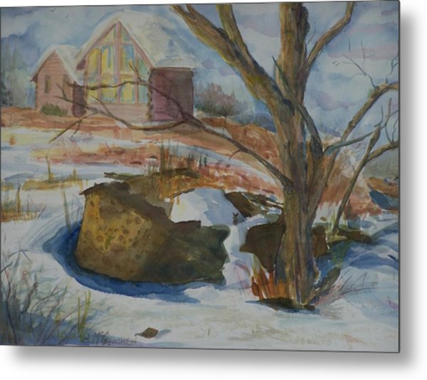 Rock Wall In Winter Metal Print