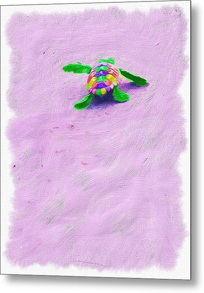 Sea Turtle Escape Metal Print
