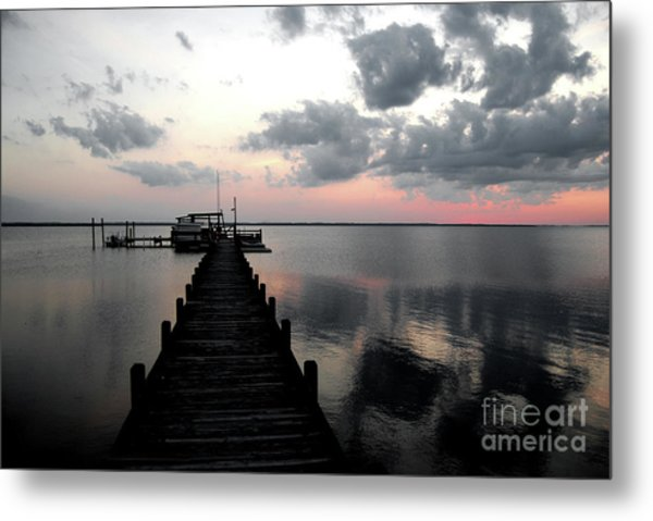 Silhouette On The Sound Metal Print