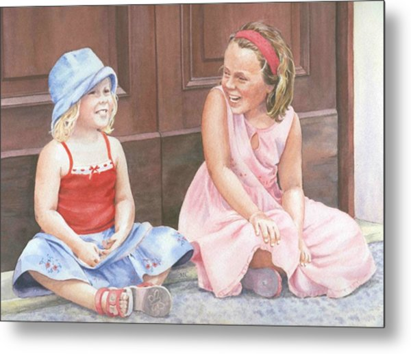 Sisters On Holiday Metal Print by Maureen Carter
