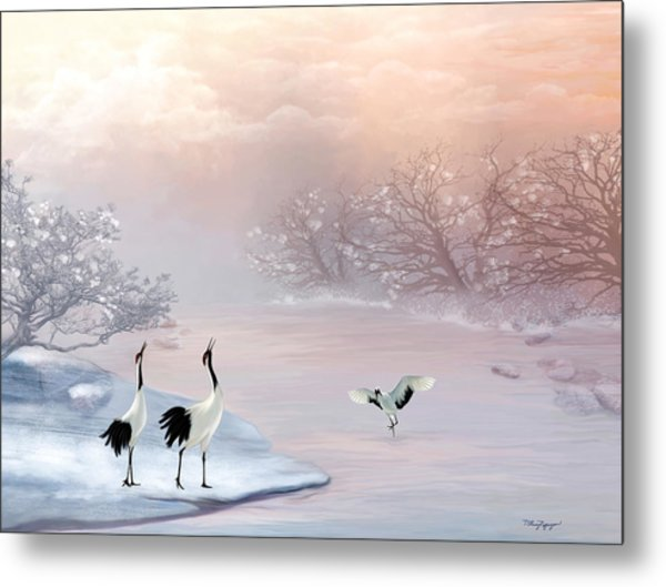 Snow Cranes Metal Print