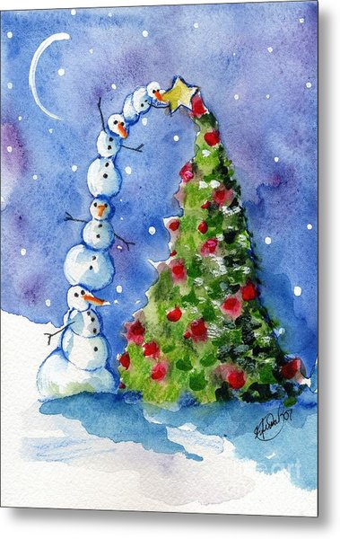 Snowman Christmas Tree Metal Print by Sylvia Pimental