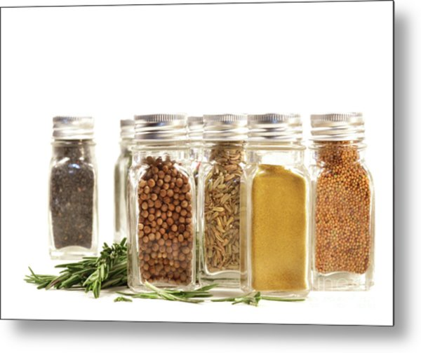 Spice Jars With Fresh Rosmary Leaves Against White Metal Print