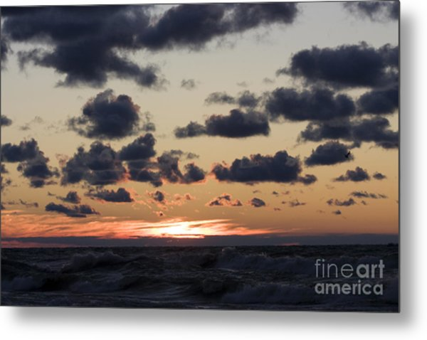 Sun Setting With Dramatic Clouds Over Lake Michigan Metal Print by Christopher Purcell
