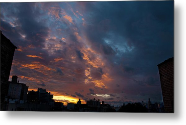 Sunset Over Brooklyn Post Irene Metal Print