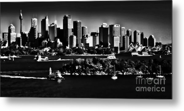 Sydney Harbour Monochrome Metal Print