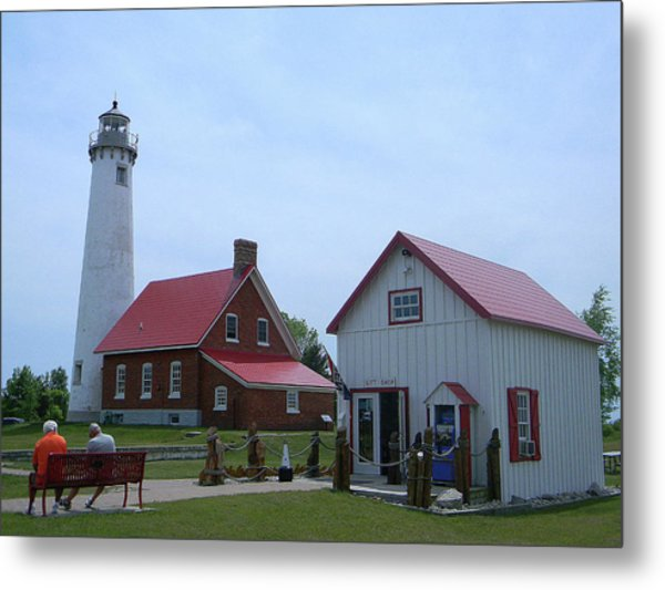 Tawas Point Lighthouse And Store Metal Print
