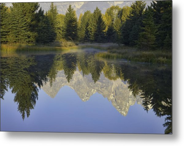 Teton Morning Reflections Metal Print