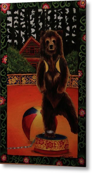 The Dancing Bear Is Far From Home Metal Print by Anzhelika Lychik