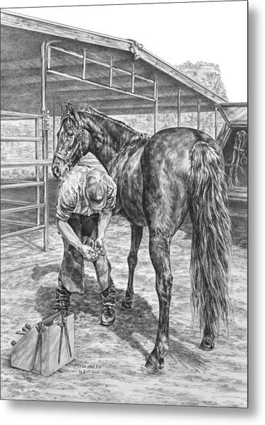 Trim And Fit - Farrier With Horse Art Print Metal Print