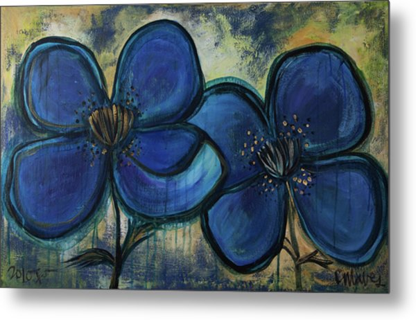 Two Blue Poppies Metal Print