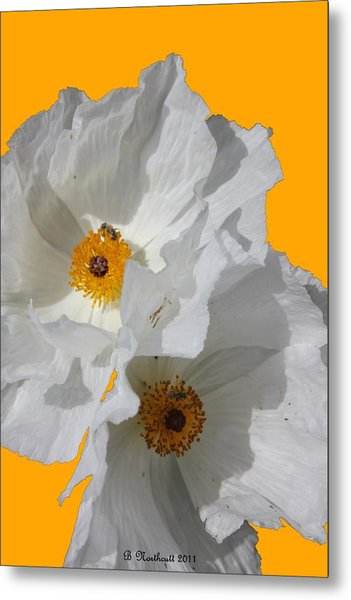 White Poppies On Yellow Metal Print