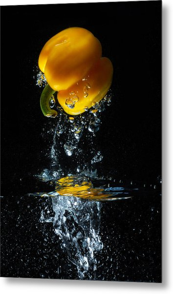 Yellow Pepper Escapes From Water Metal Print