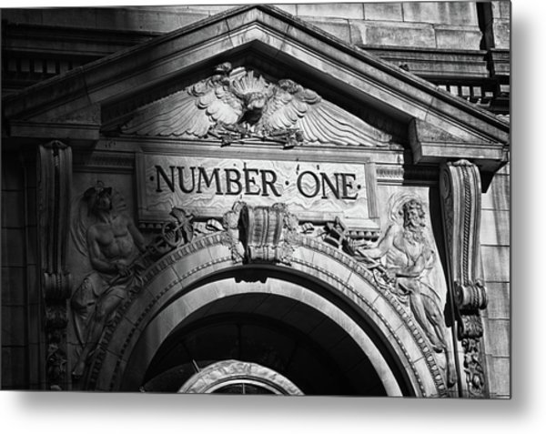 Number One Building In Black And White Metal Print by Val Black Russian Tourchin