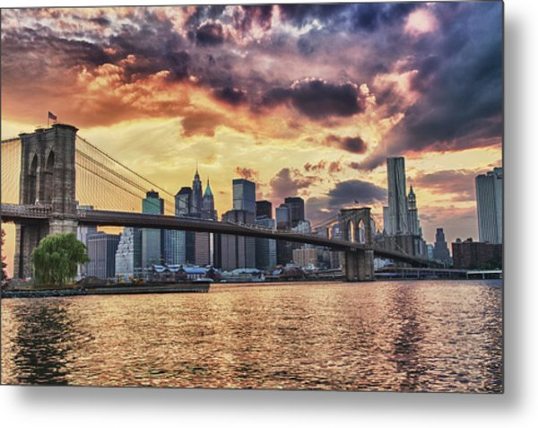 Sunset Over Manhattan Metal Print