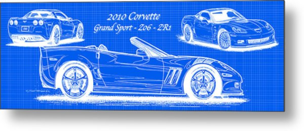 2010 Corvette Grand Sport - Z06 - Zr1 Reverse Blueprint Metal Print