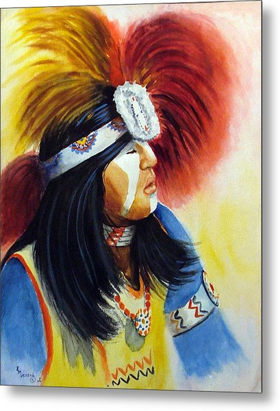 Beads And Feathers Metal Print by Esther Marie Versch