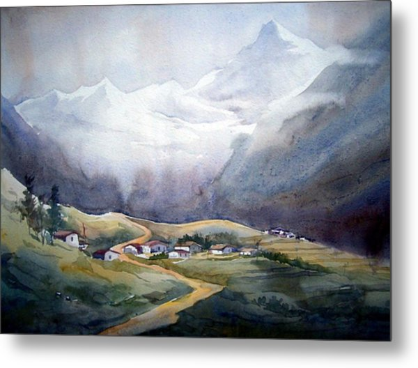 Beauty Of Himalayan Village Metal Print