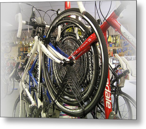 Bike Wheels Metal Print