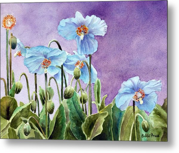 Blue Poppies Metal Print by Bobbi Price