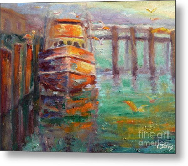 Boat With Seagulls Metal Print