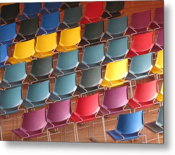 Colorful Chairs Metal Print