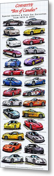 Corvette Box Of Candies - Special Edition And Indy 500 Pace Car Corvettes Metal Print