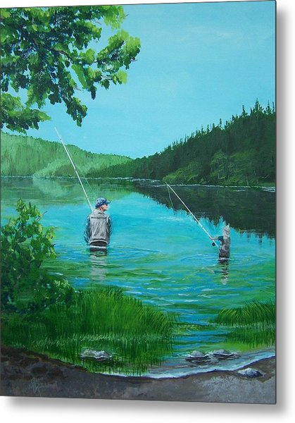 Dad And Son Fishing Metal Print