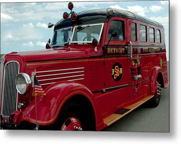 Detroit Fire Truck Metal Print