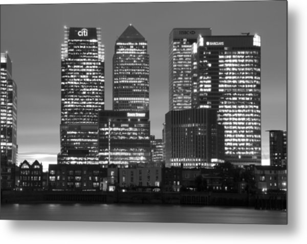 Docklands Canary Wharf Sunset Bw Metal Print