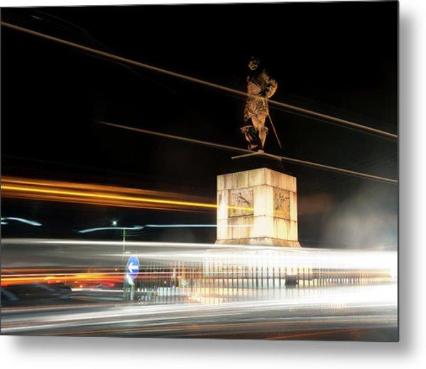 Drake's Statue Traffic Trails Iv Metal Print