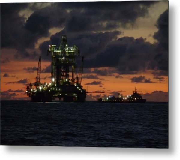 Drill Rig At Dusk Metal Print
